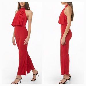 Pants - Wide Leg Red Halter Jumpsuit